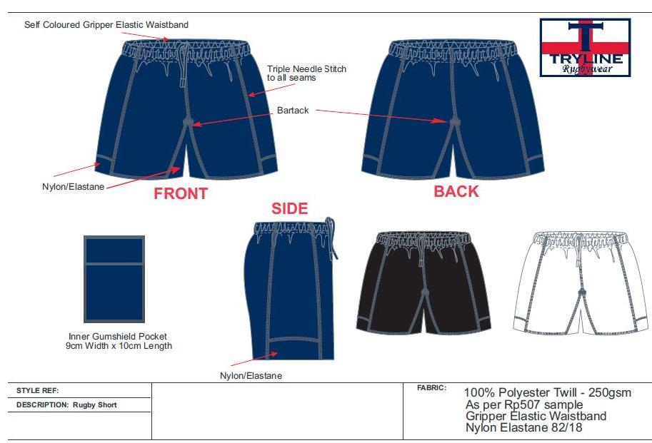 Tryline Pro Rugby Short